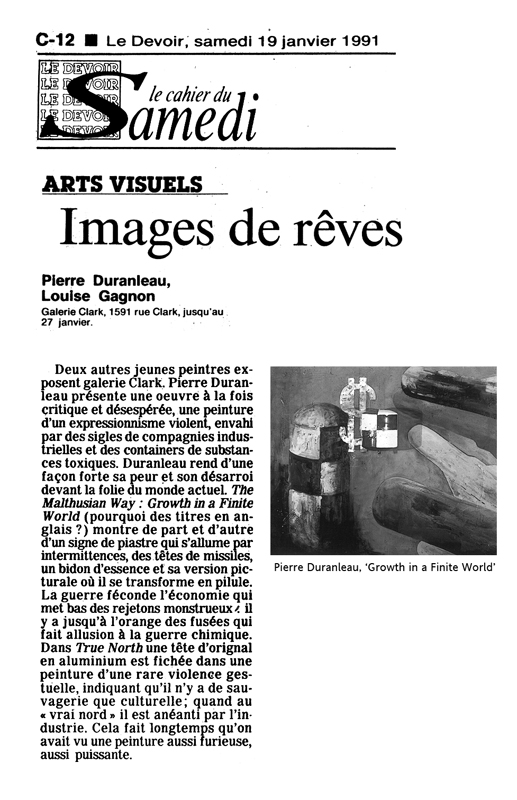 Le Devoir - critique - review 1991
