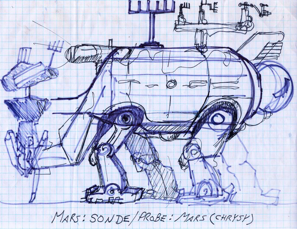 Martian probe sculptural device - concept sketch