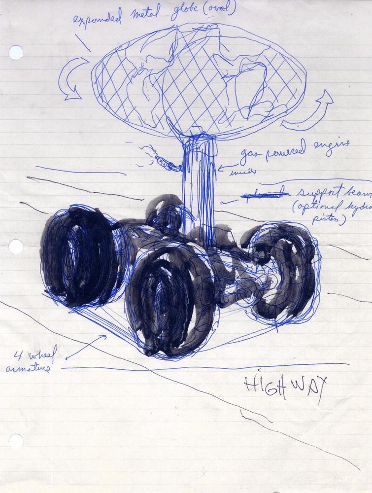Run-away corporate highway logo machine - concept sketch