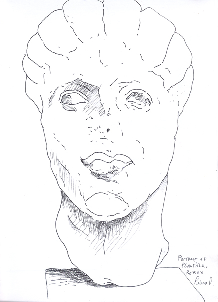 Study of a Roman bust of Plautilla
